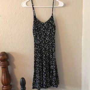Black floral mini dress sz S